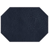 H. Risch, Inc. 11 inch x 15 inch Navy Hardboard / Faux Leather Octagon Placemat