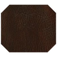 H. Risch, Inc. 13 inch x 15 inch Brown Hardboard / Faux Leather Octagon Placemat