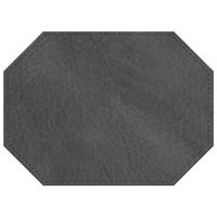 H. Risch, Inc. 11 inch x 15 inch Charcoal Hardboard / Faux Leather Octagon Placemat