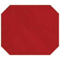 H. Risch, Inc. 13 inch x 15 inch Red Hardboard / Faux Leather Octagon Placemat
