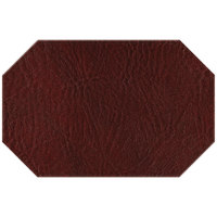H. Risch, Inc. 11 inch x 17 inch Wine Hardboard / Faux Leather Octagon Placemat