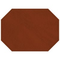 H. Risch, Inc. 11 inch x 15 inch Butterscotch Hardboard / Faux Leather Octagon Placemat