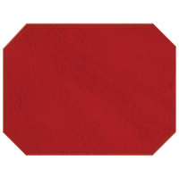 H. Risch, Inc. 13 inch x 17 inch Customizable Red Hardboard / Faux Leather Octagon Placemat
