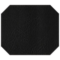 H. Risch, Inc. 13 inch x 15 inch Black Hardboard / Faux Leather Octagon Placemat