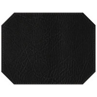 H. Risch, Inc. 13 inch x 17 inch Black Hardboard / Faux Leather Octagon Placemat