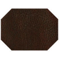 H. Risch, Inc. 11 inch x 15 inch Brown Hardboard / Faux Leather Octagon Placemat