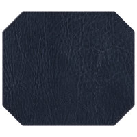 H. Risch, Inc. 13 inch x 15 inch Navy Hardboard / Faux Leather Octagon Placemat