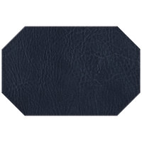 H. Risch, Inc. 11 inch x 17 inch Navy Hardboard / Faux Leather Octagon Placemat
