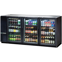 True TBB-24GAL-72G-HC-LD 72 inch Black Glass Door Narrow Back Bar Refrigerator with LED Lighting