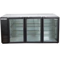 True TBB-24GAL-72G-HC-LD 72 inch Black Glass Door Narrow Back Bar Refrigerator with LED Lighting