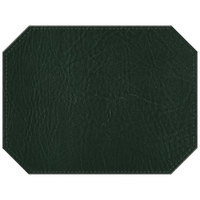 H. Risch, Inc. 13 inch x 17 inch Customizable Green Hardboard / Faux Leather Octagon Placemat
