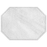 H. Risch, Inc. 11 inch x 15 inch White Hardboard / Faux Leather Octagon Placemat