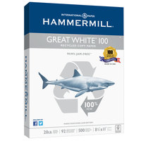 Hammermill 86790 Great White 8 1/2 inch x 11 inch White Case of 20# 100% Recycled Copy Paper - 5000/Sheets