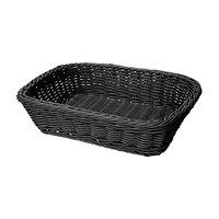 GET WB-1508-BK Designer Polyweave 11 1/2 inch x 8 1/2 inch x 2 3/4 inch Black Rectangular Plastic Basket
