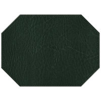 H. Risch, Inc. 11 inch x 15 inch Green Hardboard / Faux Leather Octagon Placemat