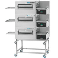 Lincoln 1180-3G Impinger II 1100 Series Express Natural Gas Triple Conveyor Radiant Oven Package with 28 inch Long Baking Chamber - 120,000 BTU