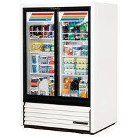 True GDM-33CPT-LD White Narrow Sliding Door Pass-Through Glass Door Merchandiser Refrigerator - 17 Cu. Ft.