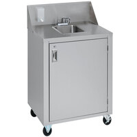 Crown Verity CVPHS-4 24 inch Space Saver Single Bowl Portable Hand Sink Cart