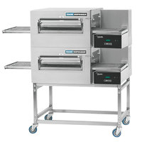 Lincoln 1180-2G Impinger II 1100 Series Express Liquid Propane Double Conveyor Radiant Oven Package with 28 inch Long Baking Chamber - 80,000 BTU