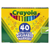 Crayola 587861 Ultra-Clean Assorted 40-Count Fine Point Washable Markers