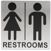 Tablecraft B12 Stainless Steel Unisex Restrooms Sign 5 inch x 5 inch