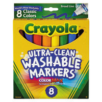Crayola 587808 Ultra-Clean Assorted 8 Color Broad Point Washable Marker Set