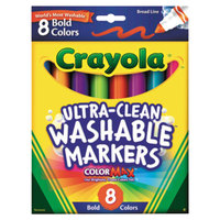 Crayola 587832 Ultra-Clean Assorted 8-Count Bold Color Broad Point Washable Markers