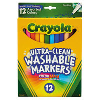 Crayola 587813 Ultra-Clean Assorted 12 Color Fine Point Washable Marker Set