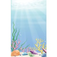 8 1/2 inch x 14 inch Menu Paper - Seafood Themed Coral Design Cover - 100/Pack