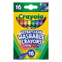 Crayola 526916 Ultra-Clean Assorted 16 Color Regular Size Washable Crayon Box
