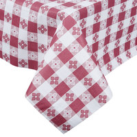 Burgundy-Checkered Vinyl Table Cover with Flannel Back, 25 Yard Roll