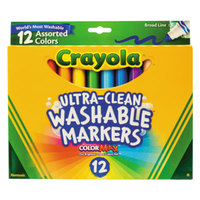 Crayola 587812 Ultra-Clean Assorted 12 Color Broad Point Washable Marker Set