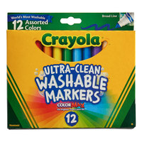 Crayola 587812 Ultra-Clean Assorted 12-Count Broad Point Washable Markers