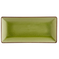 CAC 666-13-G 11 1/2 inch x 6 1/2 inch Japanese Style Rectangular Stoneware Plate - Black Non-Glare Glaze / Golden Green - 12/Case