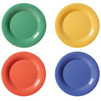 GET WP-9-MIX Diamond Mardi Gras 9 inch Wide Rim Round Melamine Plate, Assorted Colors - 24 / Case