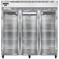 Continental Refrigerator 3F-SS-GD 78 inch Three Section Glass Door Reach-In Freezer