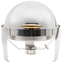 Choice Supreme 6.5 Qt. Round Stainless Steel Roll Top Chafer with Gold Trim