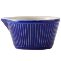 Greenware by Tuxton B2X-0408 4 oz. Cobalt / Ivory (American White) Fluted China Ramekin with Spout - 48/Case