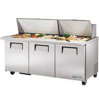 True TSSU-72-30M-B-ST-HC 72 inch 3 Door Mega Top Refrigerated Sandwich Prep Table
