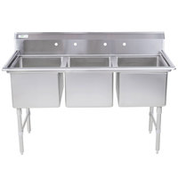 Regency 16 Gauge Stainless Steel Three Compartment Commercial Sink - 24 inch x 24 inch x 14 inch Bowls