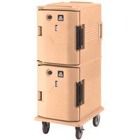 Cambro UPCH8002157 Coffee Beige Ultra Camcart Two Compartment Heated Holding Pan Carrier with Casters, Both Compartments Heated - 220V (International Use Only)