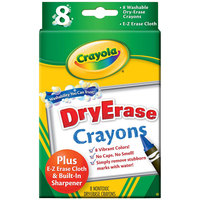 Crayola 985200 Assorted 8 Color Washable Dry Erase Crayon Box with E-Z Erase Cloth