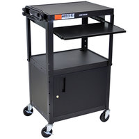 Luxor AVJ42KBC Mobile Computer Cart / Workstation 24 inch x 18 inch with Locking Cabinet and Keyboard Shelf