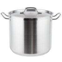 20 Qt. Heavy-Duty Stainless Steel Aluminum-Clad Stock Pot with Cover