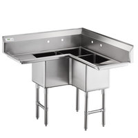 Regency 44 1/2 inch 16 Gauge Stainless Steel Three Compartment Commercial Corner Sink with Two Drainboards - 14 inch x 14 inch x 14 inch Bowls