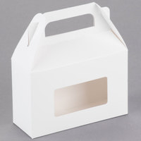 1-Piece 1/2 lb. Rectangle Window Candy Box White 5 3/8 inch x 2 inch x 3 1/2 inch   - 250/Case