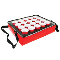 Sterno 70544 Red Stadium Insulated Drink Carrier with 20 Hole Insert, 24 inch x 20 inch x 6 inch - Holds (20) Cups