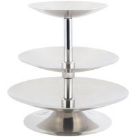 Bon Chef 61101 17 inch X 17 inch X 24 inch Stainless Steel 3-Tier Fruit / Bread Stand