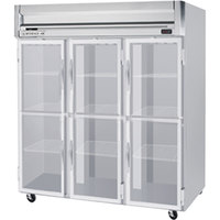 Beverage Air HFS3-5HG-LED 3 Section Glass Half Door Reach-In Freezer - 74 cu. ft., Stainless Steel Front, Gray Exterior, Stainless Steel Interior
