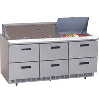 Delfield UCD4472N-30M 72 inch 6 Drawer Mega Top Reduced Height Refrigerated Sandwich Prep Table